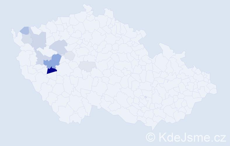 Příjmení: 'Fastová', počet výskytů 37 v celé ČR