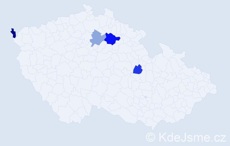 Příjmení: 'Lemmer', počet výskytů 5 v celé ČR