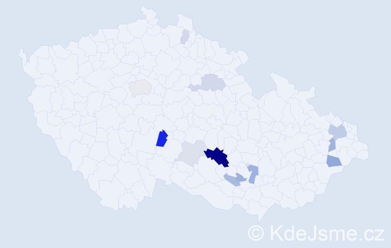 Příjmení: 'Kadela', počet výskytů 33 v celé ČR