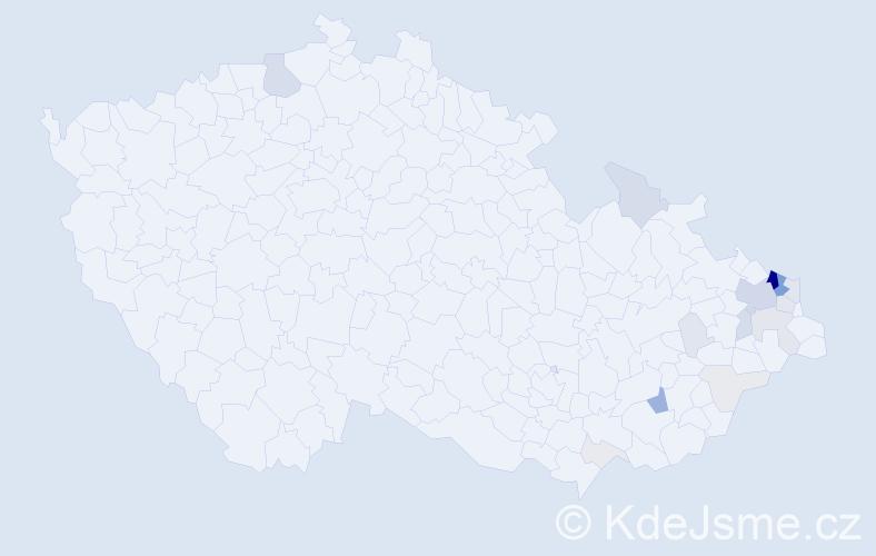 Příjmení: 'Ježíšek', počet výskytů 69 v celé ČR