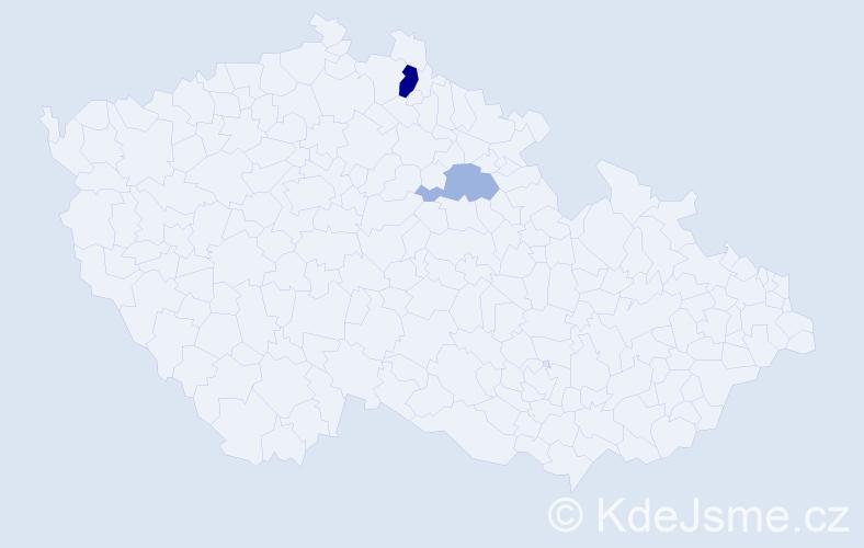 Příjmení: 'Fidralová', počet výskytů 12 v celé ČR