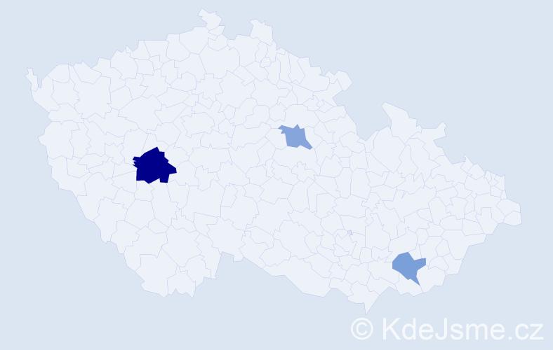 Příjmení: 'Hámorský', počet výskytů 5 v celé ČR