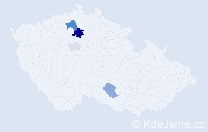 Příjmení: 'Černich', počet výskytů 8 v celé ČR