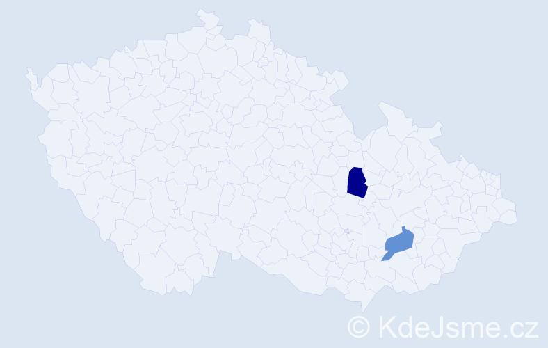 Příjmení: 'Esther', počet výskytů 2 v celé ČR