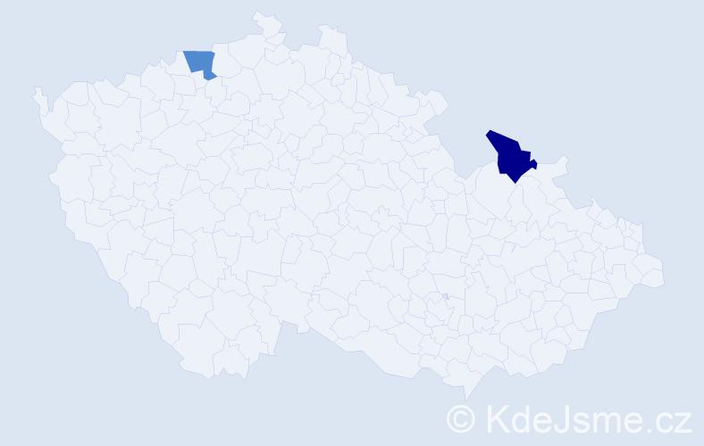 Příjmení: 'Köstlová', počet výskytů 4 v celé ČR