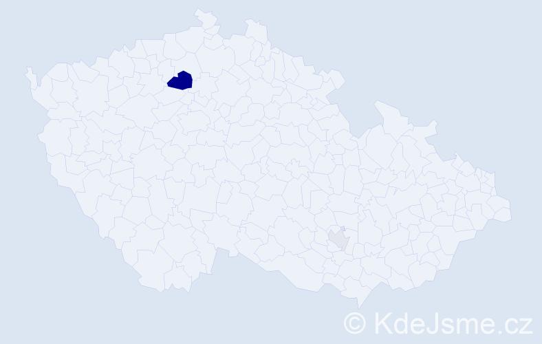 Příjmení: 'Kajetánová', počet výskytů 6 v celé ČR
