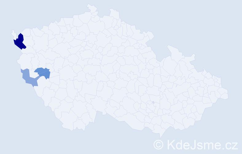 Příjmení: 'Kabaluk', počet výskytů 9 v celé ČR