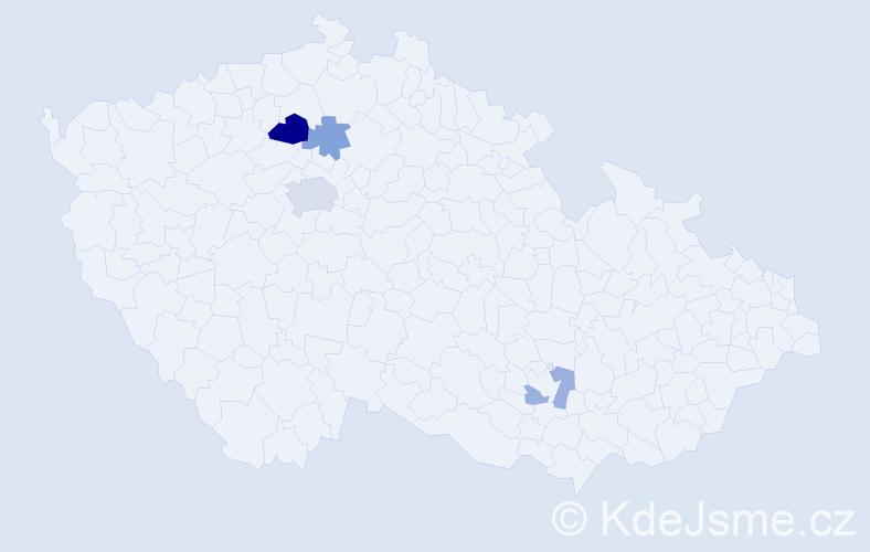 Příjmení: 'Hajncová', počet výskytů 8 v celé ČR