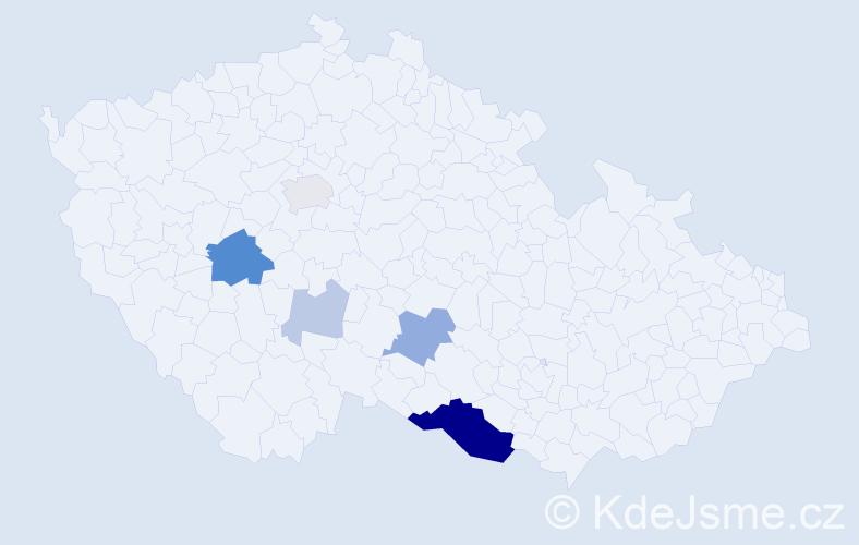 Příjmení: 'Babínek', počet výskytů 19 v celé ČR