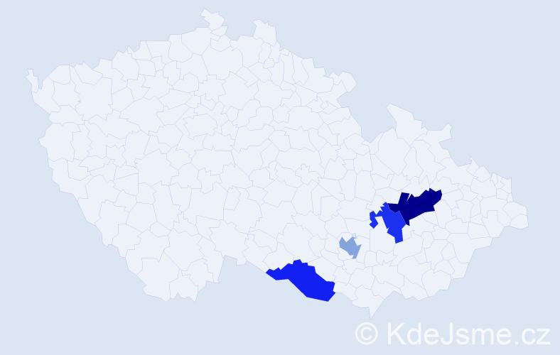Příjmení: 'Ignácková', počet výskytů 5 v celé ČR