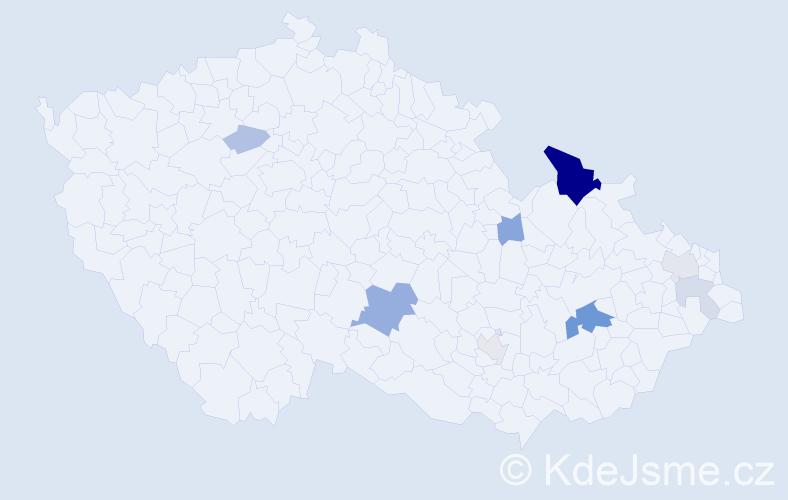 Příjmení: 'Hadwigerová', počet výskytů 21 v celé ČR