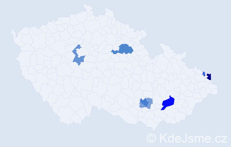 Příjmení: 'Kulendík', počet výskytů 21 v celé ČR