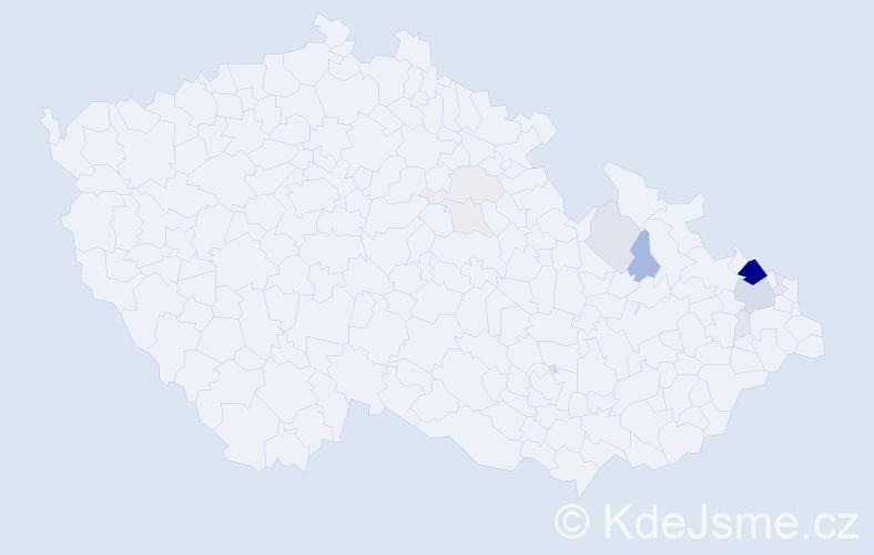 Příjmení: 'Kačmař', počet výskytů 48 v celé ČR