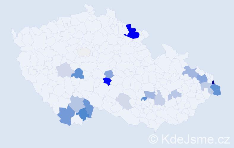 Příjmení: 'Čudková', počet výskytů 66 v celé ČR