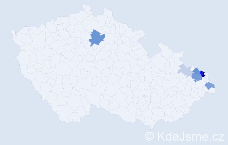 Příjmení: 'Dvoroková', počet výskytů 26 v celé ČR