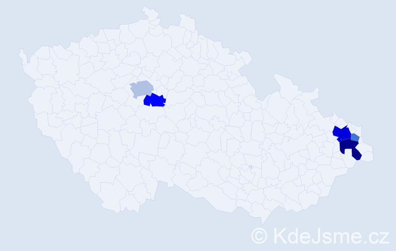 Příjmení: 'Lasevič', počet výskytů 10 v celé ČR