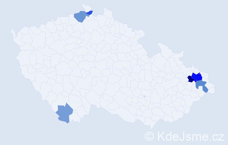 Příjmení: 'Kanich', počet výskytů 21 v celé ČR