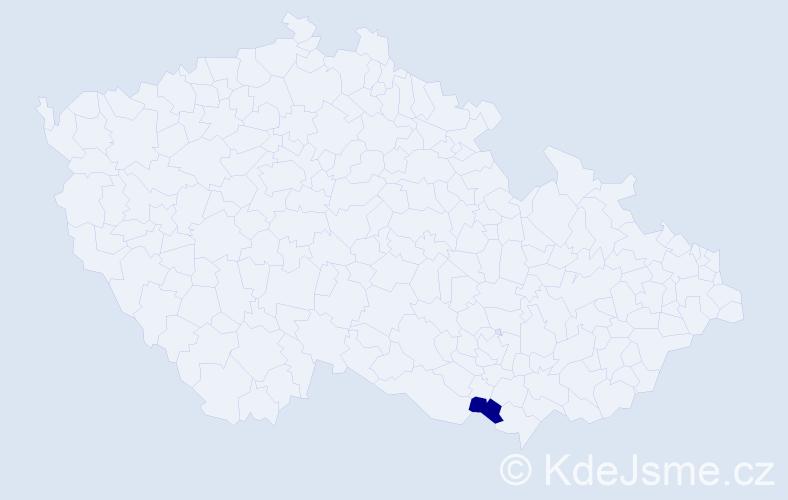 """Příjmení: '""""Čóka Ondráčková""""', počet výskytů 1 v celé ČR"""