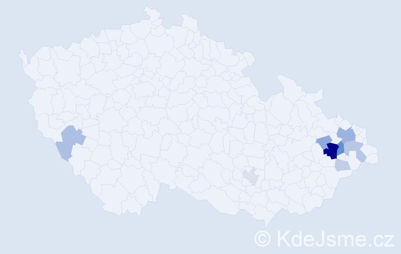 Příjmení: 'Horuta', počet výskytů 39 v celé ČR