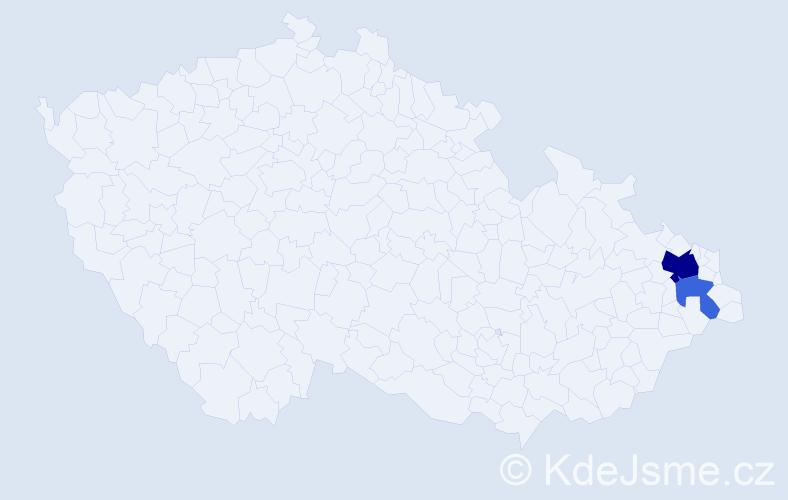 Příjmení: 'Bendinha', počet výskytů 5 v celé ČR