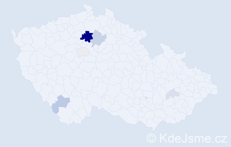 Příjmení: 'Dvorščík', počet výskytů 18 v celé ČR