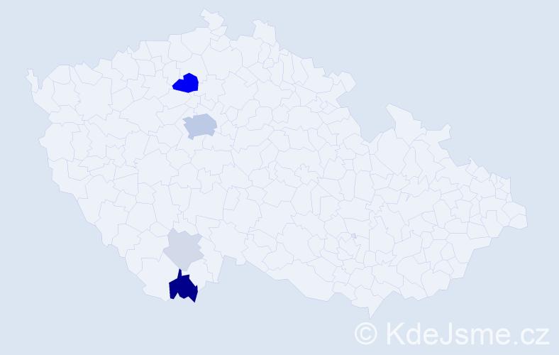 Příjmení: 'Durychová', počet výskytů 19 v celé ČR