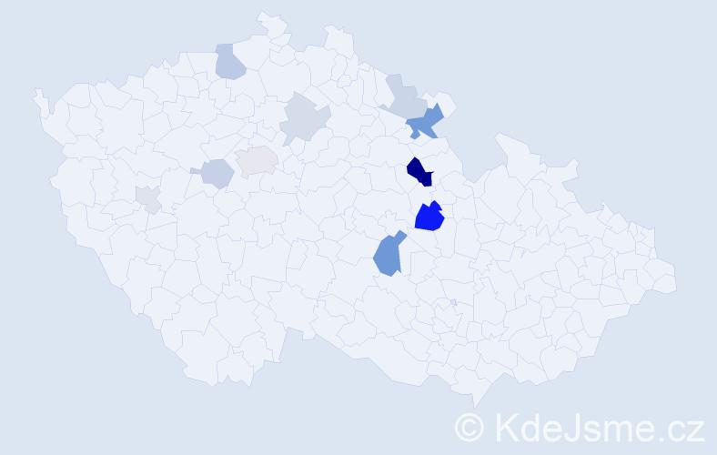 Příjmení: 'Daňsa', počet výskytů 25 v celé ČR
