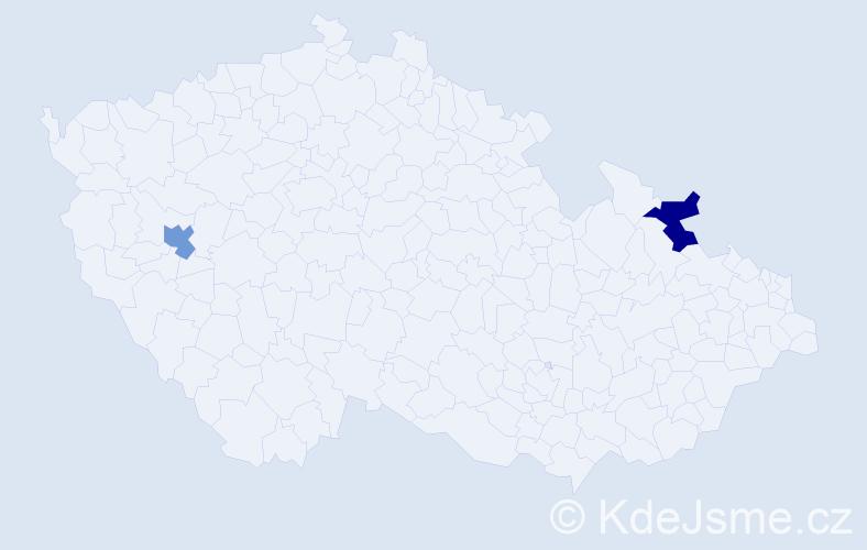 Příjmení: 'Gash', počet výskytů 2 v celé ČR
