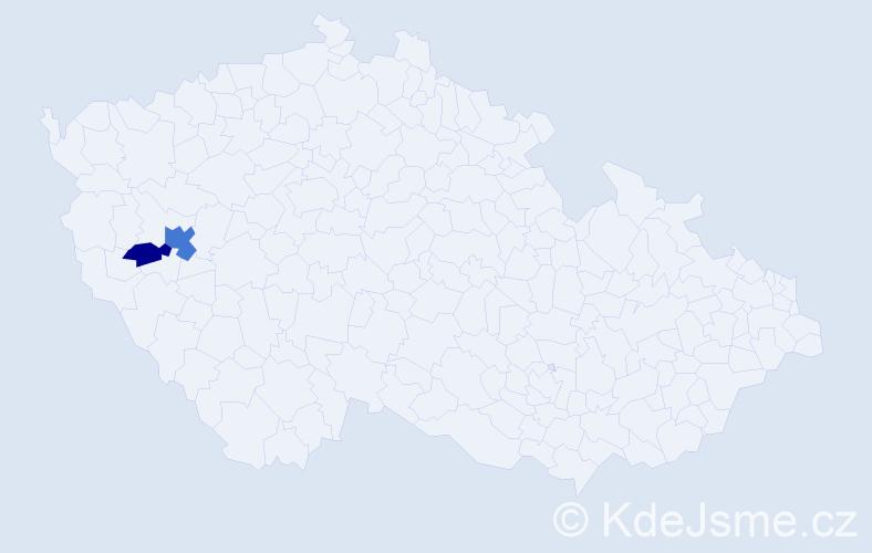 Příjmení: 'Čudák', počet výskytů 4 v celé ČR