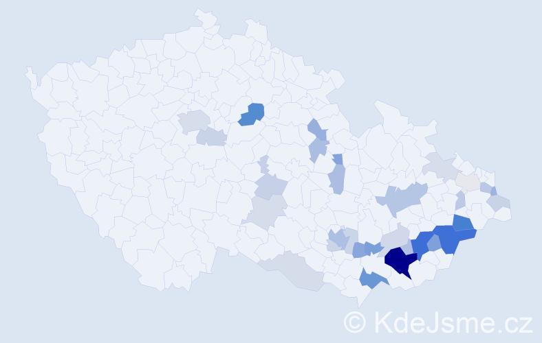 Příjmení: 'Husek', počet výskytů 86 v celé ČR