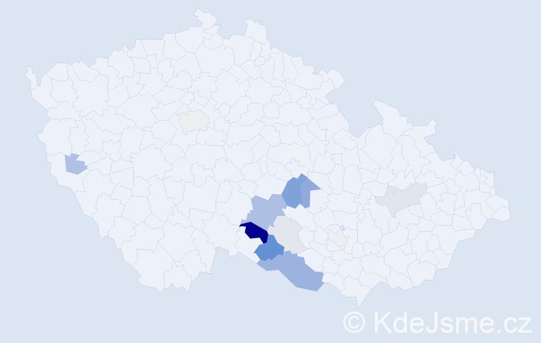 Příjmení: 'Ganzwohl', počet výskytů 40 v celé ČR