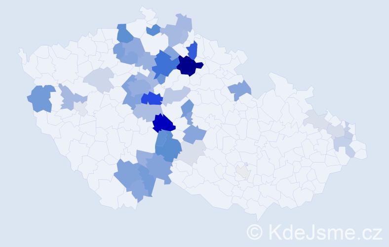 Příjmení: 'Doškářová', počet výskytů 165 v celé ČR
