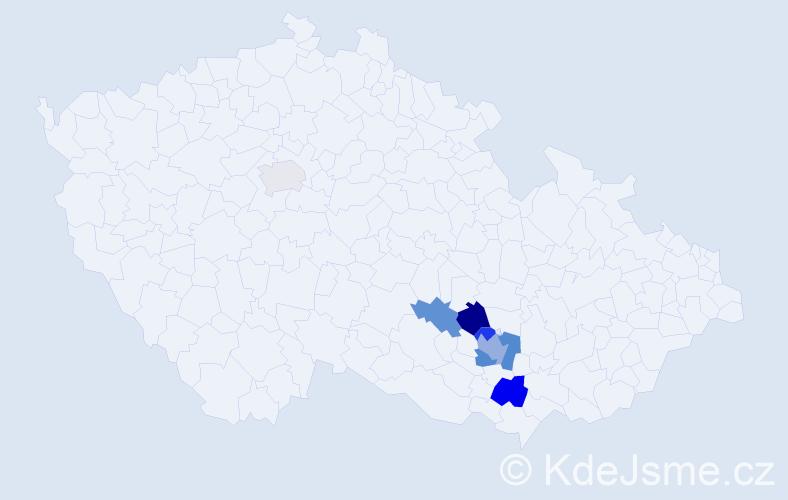 Příjmení: 'Inková', počet výskytů 12 v celé ČR
