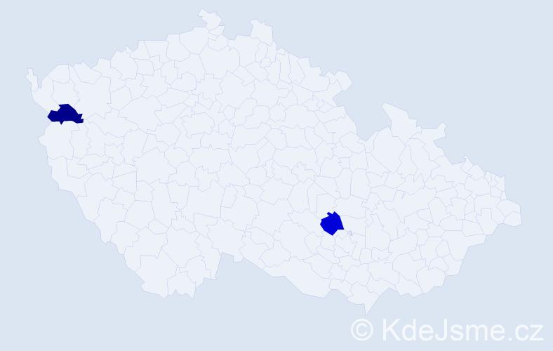 Příjmení: 'Konová', počet výskytů 2 v celé ČR