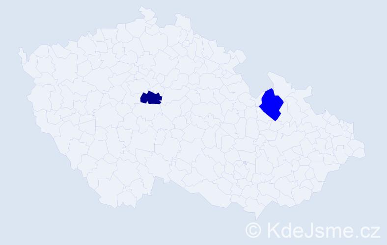 Příjmení: 'Godal', počet výskytů 2 v celé ČR