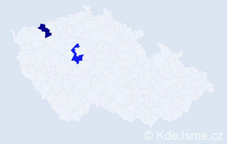 Příjmení: 'Waiz', počet výskytů 5 v celé ČR
