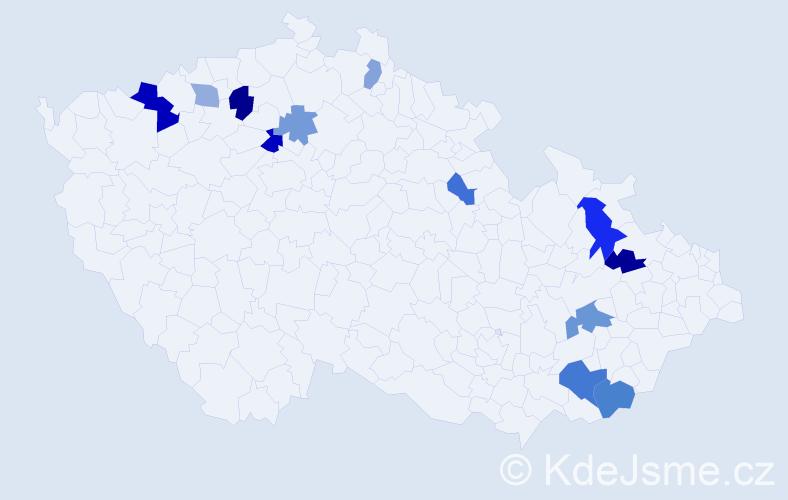Příjmení: 'Chrvalová', počet výskytů 21 v celé ČR