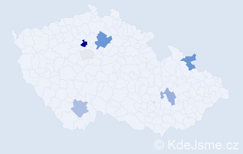 Příjmení: 'Hropková', počet výskytů 8 v celé ČR