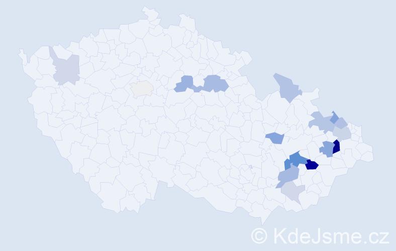 Příjmení: 'Čeladník', počet výskytů 37 v celé ČR