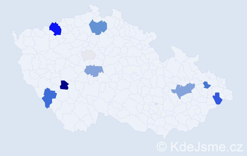 Příjmení: 'Chudadová', počet výskytů 14 v celé ČR