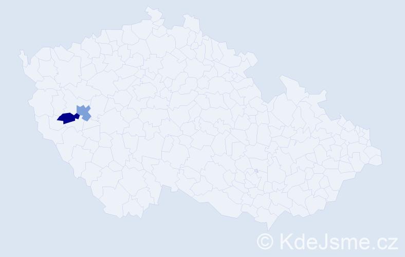 Příjmení: 'Ibr', počet výskytů 5 v celé ČR