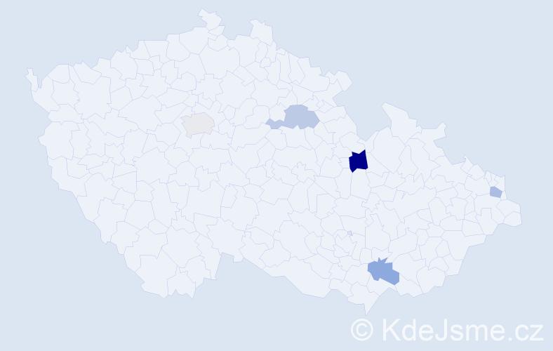 Příjmení: 'Danačík', počet výskytů 6 v celé ČR
