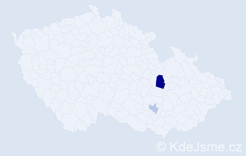 Příjmení: 'Čižik', počet výskytů 2 v celé ČR