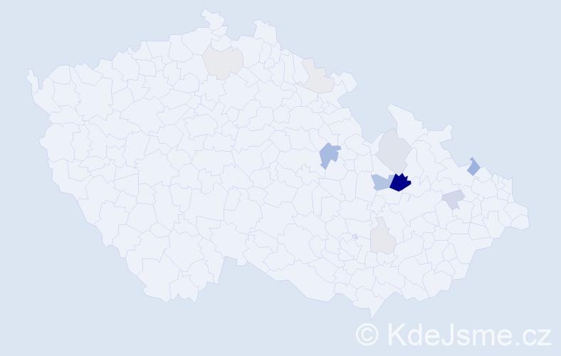 Příjmení: 'Dorušáková', počet výskytů 34 v celé ČR