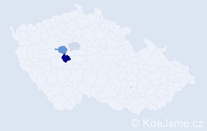 Příjmení: 'Klanner', počet výskytů 4 v celé ČR
