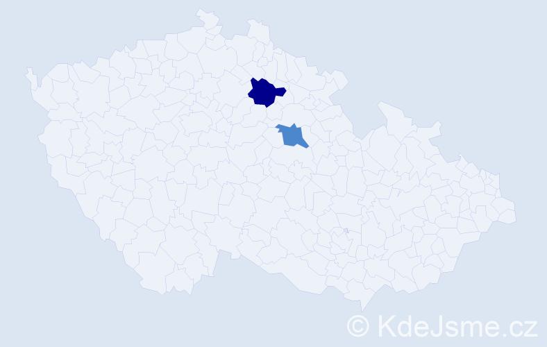 Příjmení: 'Hyvlová', počet výskytů 2 v celé ČR