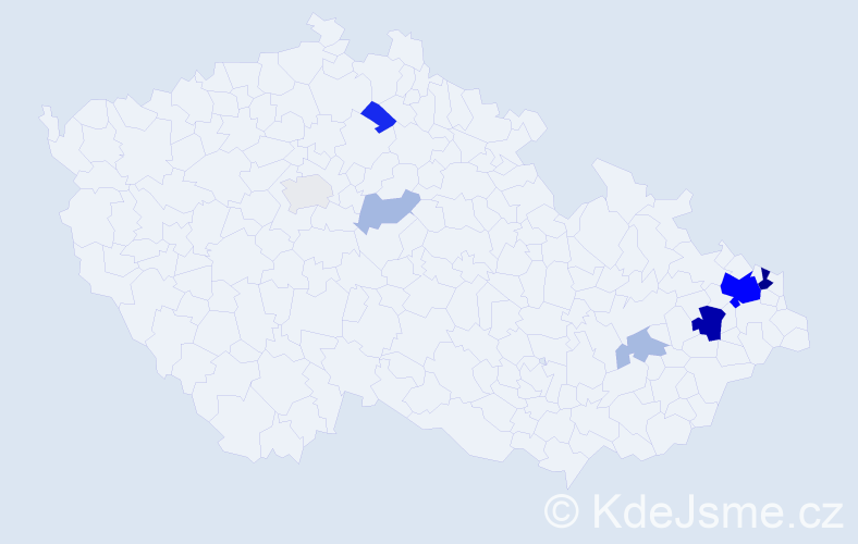 Příjmení: 'Dutko', počet výskytů 26 v celé ČR