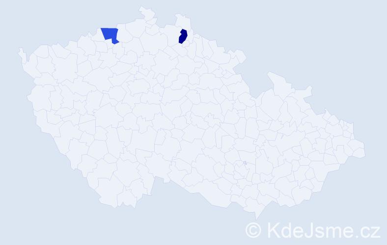 Příjmení: 'Dennertová', počet výskytů 2 v celé ČR