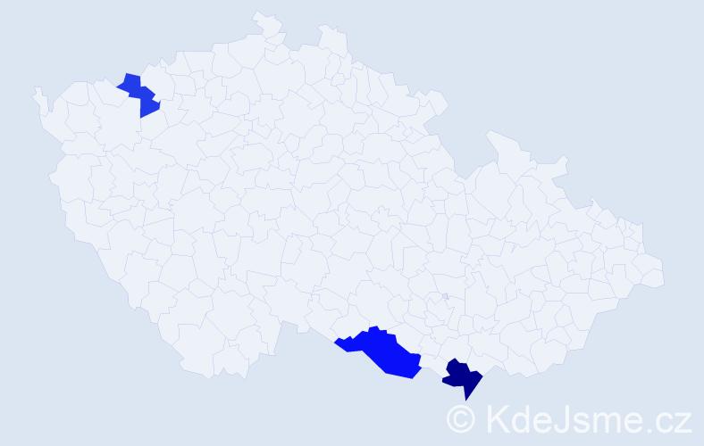 Příjmení: 'Hajkó', počet výskytů 5 v celé ČR