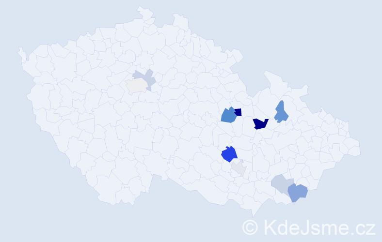 Příjmení: 'Jilg', počet výskytů 18 v celé ČR